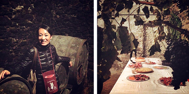 Left: Wearing my wine necklace in front of some really old wine barrels.  Right: Looking through a little window framed with grapes at the assortment of cured meats and cheeses served at each Cantina.